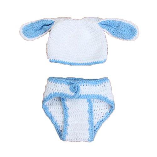 Nicky Fotografie Häschen Requisiten für Baby Kaninchen Mütze Windel Geburtstagsparty Dekoration Kostüm Gestrickt Fotoshooting Weiß mit Blau Kleidung (Niedliche Diy Baby Kostüme)