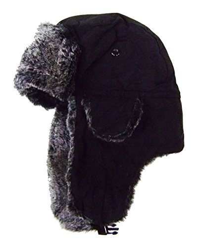 modestone-warm-trapper-bomber-hat-faux-fur-trim-o-s-black