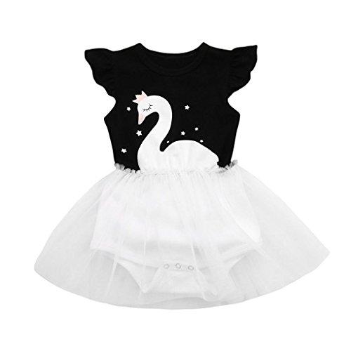 Tutu Kleid Kleinkind Kinder, DoraMe Baby Mädchen Denim Kleid Langarm Prinzessin Kleid Cowboy Kleidung Mesh Patchwork Mini Kleid für 6-24 Monate (Schwarz, 12 Monate)