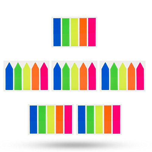 Antner 6 Sets Neon Seite Marker Farbige Index Tabs Flags Haftnotizen für Seite Marker, 600 Stück