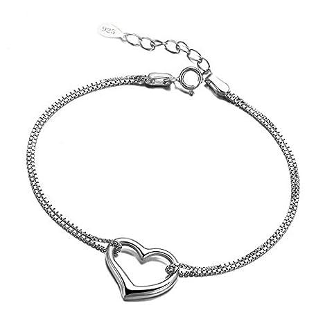 Aooaz Femmes Bracelet S925 Argent Cœur Pendentif Bracelets Femmes Réglable Chaîne Bijoux 17.5+3CM Engagement