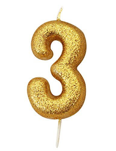Gold Number Candle - 3 Gold 3