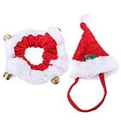 YWSDshop Halloween Costume Dog Cosplay Costume Pet Holiday Accessories Pet Tie And Pet hat Small Dog Christmas Hat Small Dog Christmas Collar Christmas Decoration