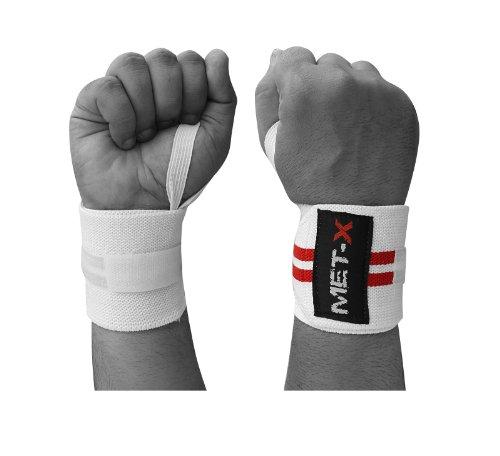 Met-X Authentic Gewichtheben-Handgelenk-Bandage, Schwarz/Rot/Weiß