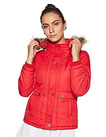 Qube By Fort Collins Women's Parka Hoodie (638 SMU_Red_M)