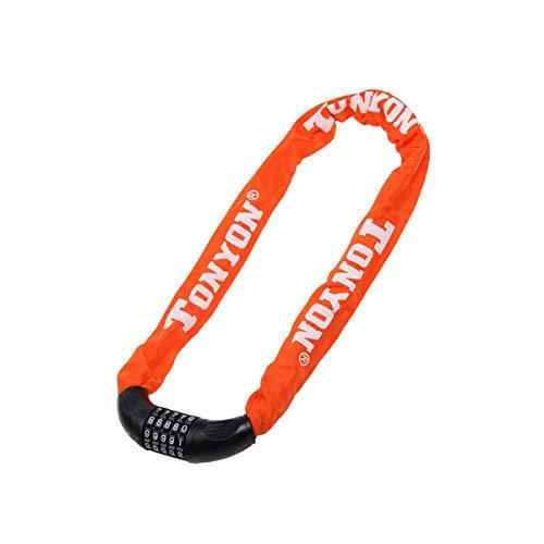 TONGBOSHI Passwort-Kettenschloss, Fahrrad-Diebstahlsicherung, 90CM, Mountainbike-Diebstahlsicherung, Schwarz, Lila, Rot, Orange (Color : Orange)