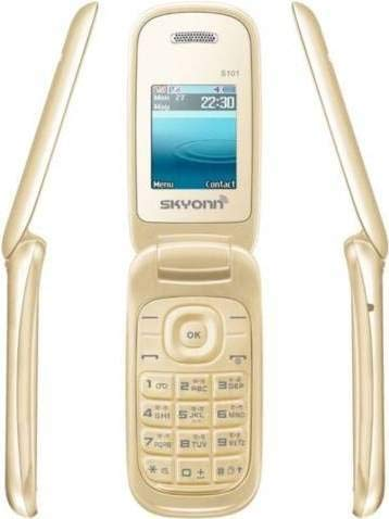 CLUBCLASSY Skyonn Flip Cell Phone with Camera, GSM and Auto Call Recorder (Dual SIM, Gold)