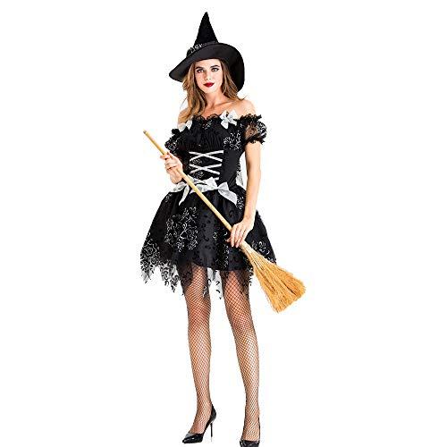 Deluxe Wicked Witch Kostüm mit Zipfelmütze, Gothic Black Hooded Cape Halloween Kostüme für - Gothic Witch Kostüm