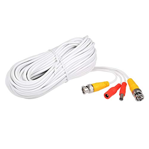 ZCHXD 20M White BNC-DC Video Power Cable Wire for Security Camera CCTV DVR Surveillance System Play Dvr Cctv Surveillance System