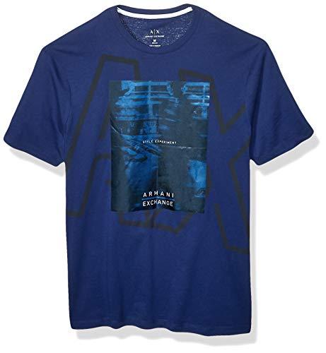 Armani Exchange A|X Herren Short Sleeve Screen Print T-Shirt, Blau - Blue Depths, XX-Large -