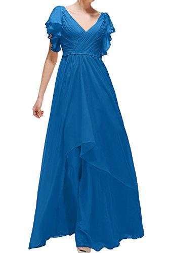 Sunvary Fashion V-Neck Neu Chiffon Abendkleider Ballkleider Partykleider Lang Dunkelblau