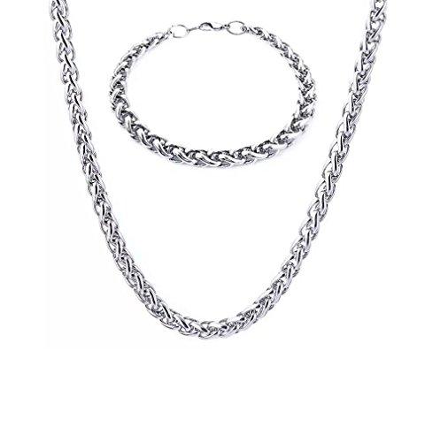 8MM DICKE Silber Stahl Armband rund Cuban Panzerkette und 61cm Kette Halskette Set