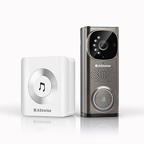 [ Soldes ] Alfawise Sonnette sans Fil avec la vidéo HD, portier Video Sonnette visuelle Sonnette Video, Sonnette caméra avec WiFi 2,4 GHz la securite de Maison