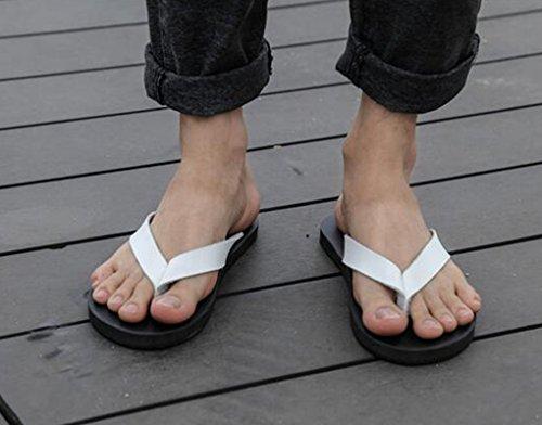 Sentao Herren PU Leder Flip Flops Beiläufig Strandlatschen Thong Zehentrenner Weiß