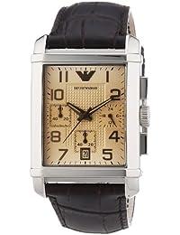 Emporio Armani AR0337 - Reloj analógico de cuarzo para hombre, correa de cuero color marrón