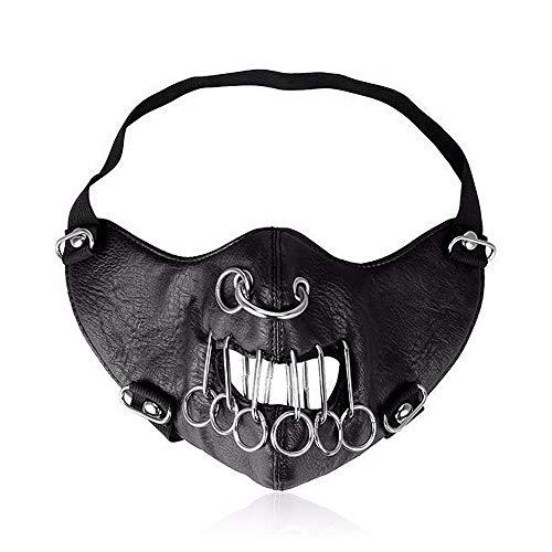 Peggy Gu Stilvolle Nasenring Motorrad Anti Staubmaske Half Face Gothic Niet Steampunk Biker Männer Cosplay Airsoft Wind Cool Punk Halloween Maskerade Maske