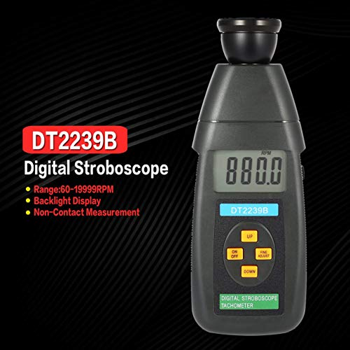 DT2239B Digital LCD Berührungslose Blitz-Stroboskop Drehzahlmesser Lichtschranke Tachometer Tester 60~19999 RPM Grau