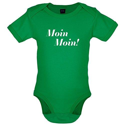 2 Humor Kleinkind T-shirt (Moin Moin - Lustiger Baby-Body - Leuchtend Grün - 0 bis 3 Monate)