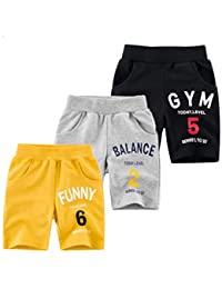 KYDA KIDS 100% Fleece Cotton Kids Shorts for Boys & Girls - Regular Fit Casual Short for Unisex, Multicolor - Pack of 3