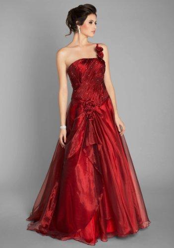 VIP Dress Robe de bal pleine longueur à étages superposes en satin Rouge