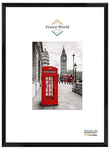 FW23 Echtholz Bilderrahmen für 60 cm x 90 cm Bilder, Farbe: Schwarz Hochglanz, mit entspiegeltem Acrylglas (Antireflex) und HDF-Holz Rückwand, Rahmen Breite: 23mm, Aussenmaß: 63,4 cm x 93,4 cm