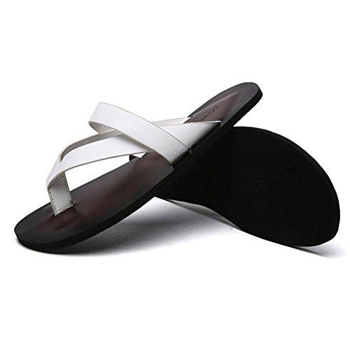 SHANGXIAN Herren Schuhe Outdoor Casual Flip-Flops Outdoor Casual Sport Sandalen Flat Lederabsatz, schwarz braun White
