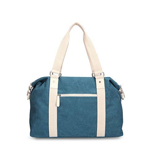 Bwiv Damen Handtasche Canvas Schultertasche Crossbody Tasche Umhängetasche Große Kapazität Shopper Schöne Vintage Henkeltasche Beuteltasche Blau Blau