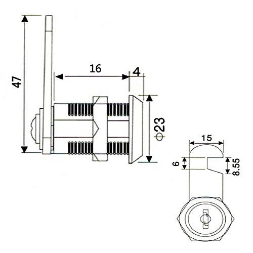 youtu 4 Stück Briefkastenschloss Möbelschlösser Zylinderschloss Verschiedenschließend Zylinder Cam Lock Schrankschloss Spindtürschloss Schubladeschloss mit 2 Schlüsseln (16mm) - 3