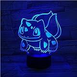 Lampada 3D Cartoon Anime giapponesi Manga Bulbasaur LED Atmosfera Luce notturna Tocco USB Illuminazione datmosfera GIOCATTOLO PER BAMBINI