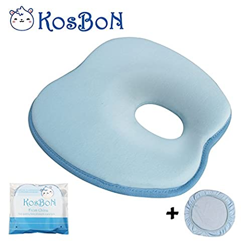 KOSBON 9 Inches Soft Memory Foam Baby Head Positioner Pillow,Prevent Flat Head (Blue Apple Shape)