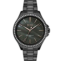 Hugo Boss Black Women's Grey Mother Of Pearl Dial Ionic Plated Grey Steel Watch - 1502458