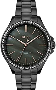 Hugo Boss Black Women's Grey Mother Of Pearl Dial Ionic Plated Grey Steel Watch - 150