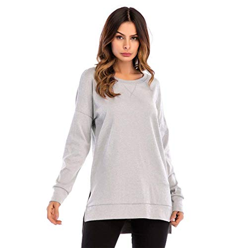 Damen Sweatshirt Hoodie Pullover Oberteile Kapuzenpullover V Ausschnitt Patchwork Pulli Tunika T-Shirt (Grau, L)