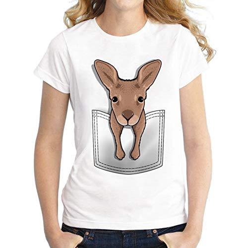 ZCYTIM känguru taschendruck t Shirt Frauen Punk Mode Tier t Shirts Kurzarm für Frauen niedlich Tops tees -