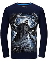 014cdcc0bcd3 Kairuun T-Shirt Herren Totenkopf 3D Print O-Neck Slim Fit T-Stücke Skull  Bedruckte…