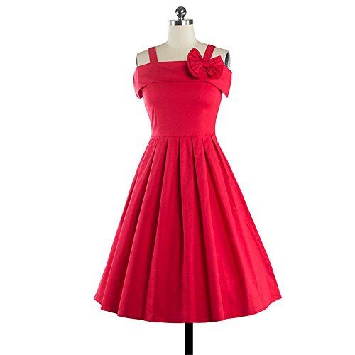Dabag - Femmes couleur pure taille serrée sana bretelles genou longueur Midi-robe swing robe de soirée cocktail plissée robe de soleil (M, Rouge) Rouge
