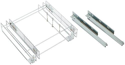Emuca 8934411 Ausziehbarer Flaschenhalter mit Softclosing für Küchenmöbel 150mm in Stahl verchromt Stahl-korb