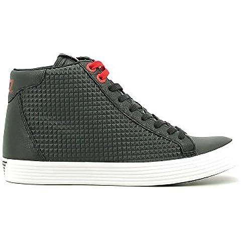 Emporio Armani EA7 zapatos zapatillas de deporte altas hombres ne piel prisma ne