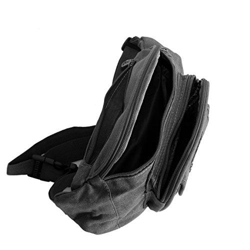 Bauchtasche Canvas von OR&MI - Gürteltasche Reisetasche Wimmerl Wandertasche Sporttasche - Baumwoll-Stoff - reissfester Nylon Gurt max.105cm Umfang ( Schwarz Grau ) - präsentiert von ZMOKA® Grau