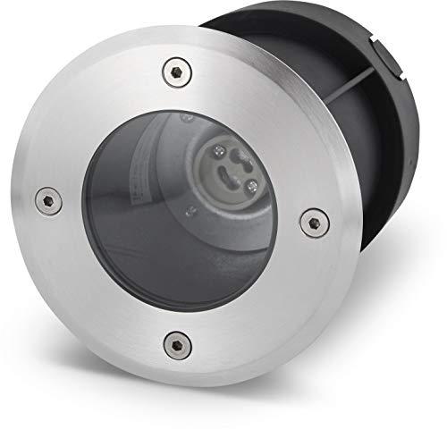Luz empotrable para suelo GU10 IP67 redonda, acero inoxidable/vidrio, hasta 2000 kg