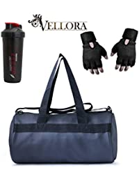 VELLORA Soft Leather Duffel Gym Bag (Black) With Thunder Boost Shaker, Gym Shaker Bottle Black And Black Netted...
