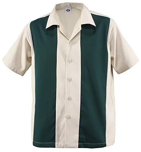 Herren Bowling Camp Cabin Cabana Shirt Worker Hemd Rockabilly Two Tone Gabardine Lounge Fifties Vintage Retro Double Panel D600 (XXL/XX-Large, Beige/Grün) - Klassischen Bowling-shirt