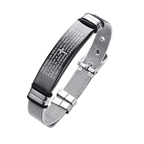 FENICAL Christliches Armband Titan Stahl religiöses Zitat spanisches Muster Glaube christliche Bibel Vers inspirierende Kreuz Armband (Bibel-verse Für Kinder)