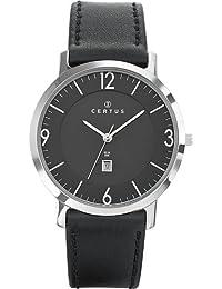 Certus 610951 - Reloj analógico de cuarzo para hombre, correa de cuero color negro