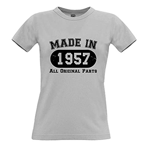 Made In 1957 All Original Parts Distressed Design Happy Birthday Sixtieth 60th Gift Present Celebration Milestone Cool Design Novel Womens Ladies T-Shirt Cool Birthday Gift
