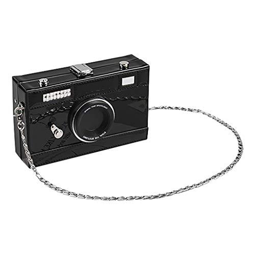 DOFENG Damen PU Leder Kamera ähnlich Handtaschen Daypack Rucksack Schultaschen Schulrucksack Tagesrucksack Umhängetasche Reiserucksack für Schule Reise Arbeit (Schwarz, One Size)