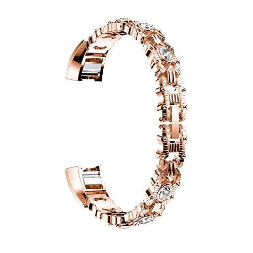 Für Fitbit Alta Armband, AISPORTS Fitbit Alta HR Uhrenarmband Edelstahl Strass Kette Smart Uhrenarmbänder Ersatzband Schnalle Armband für Fitbit Alta / Alta HR Fitness Zubehör - Rose Gold