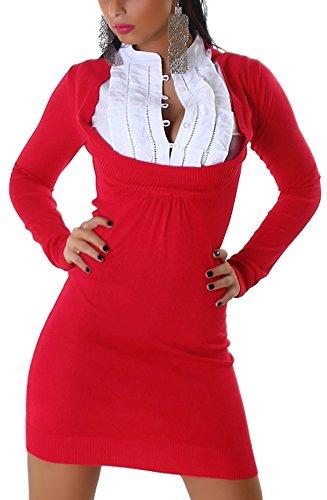 Jela London Damen Strickkleid mit eingenähtem Bluseneinsatz Einheitsgröße  34 36 38 Red