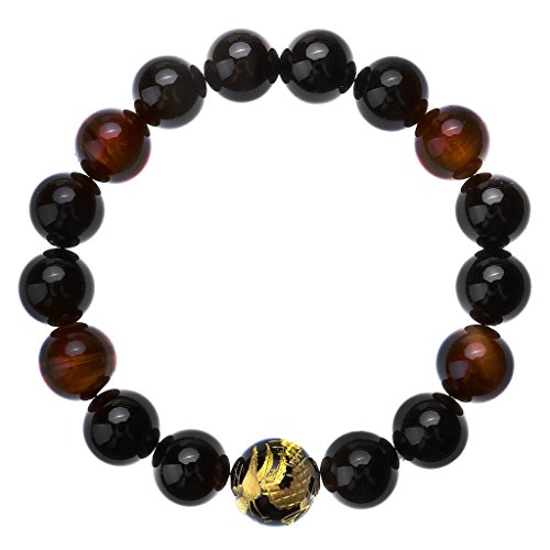 JOVIVI Herren Armband,Tiger-Auge Achat Onyx Steinarmband Drachen Buddha Mala Energiearmband Stein Armband Armreif(Golden)