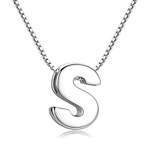 Candyfancy Initialen Kette-Buchstabenkette Kette mit Buchstabenanhänger Silber Halskette Kettenanhänger Buchstaben Silberkette Damen 925 (Kette mit Buchstabe S)